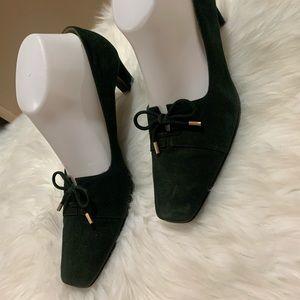 St John Womens classic pumps 9B Green velvet Shoes